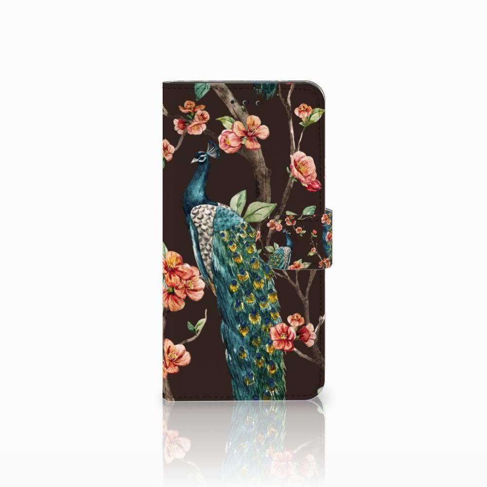 Motorola Moto E5 Play Boekhoesje Design Pauw met Bloemen