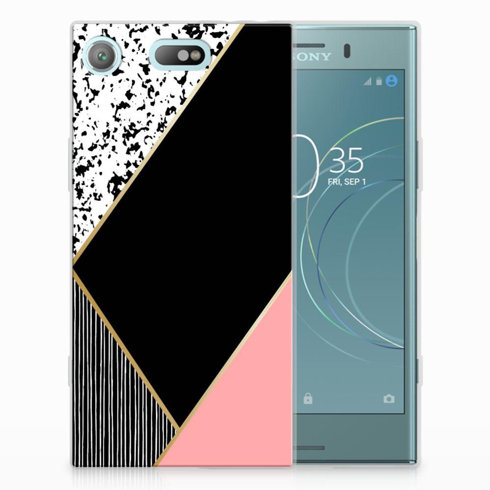 Sony Xperia XZ1 Compact Uniek TPU Hoesje Black Pink Shapes