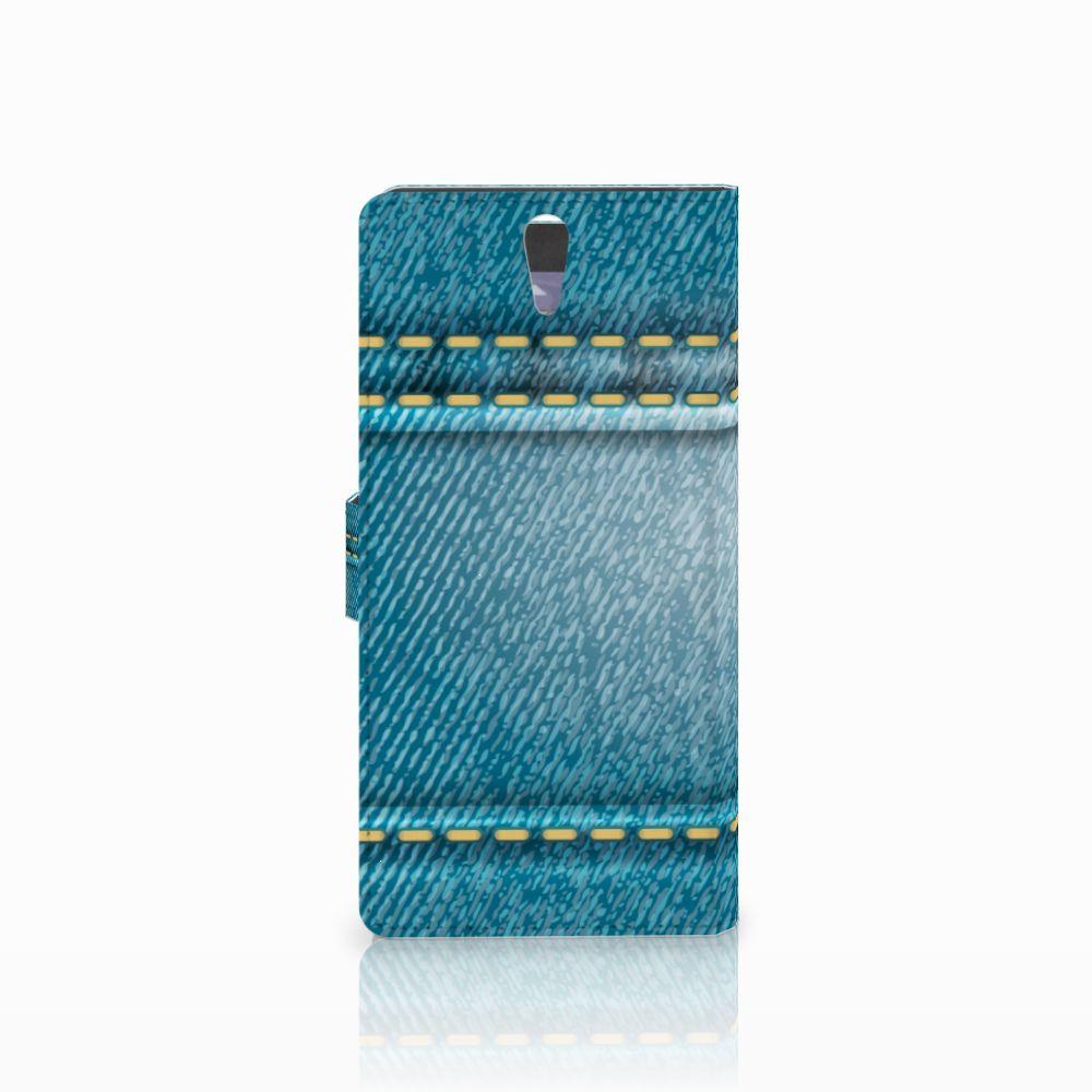 Sony Xperia C5 Ultra Wallet Case met Pasjes Jeans