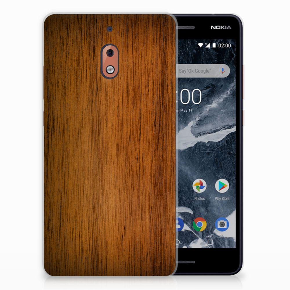 Nokia 2.1 (2018) Uniek TPU Hoesje Donker Hout