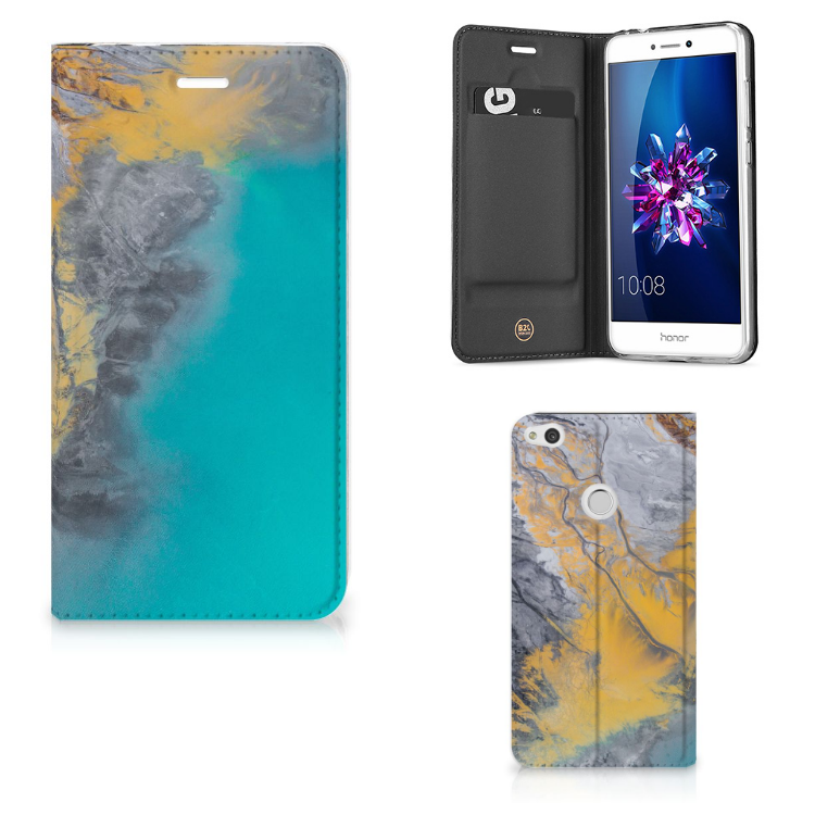 Huawei P8 Lite 2017 Standcase Marble Blue Gold