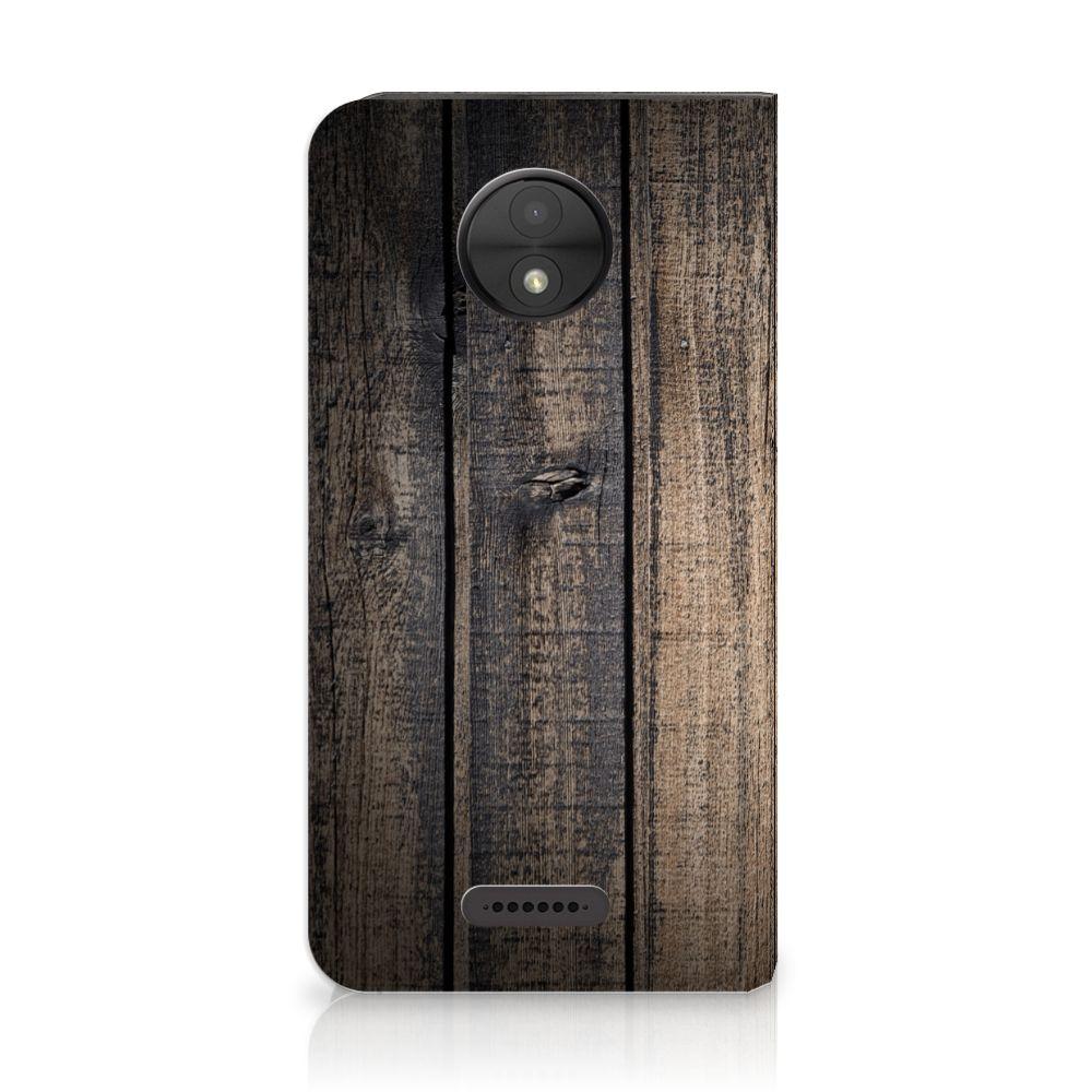 Motorola Moto C Standcase Hoesje Design Steigerhout