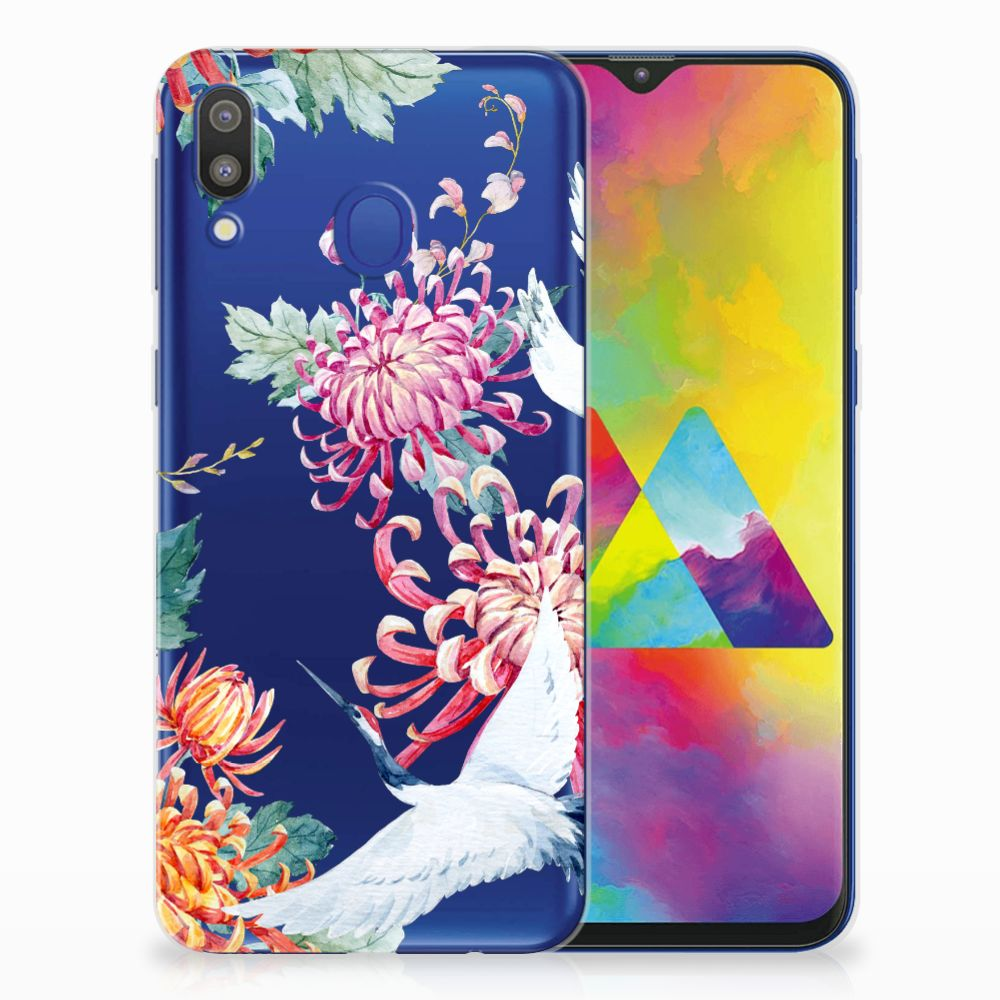 Samsung Galaxy M20 (Power) TPU Hoesje Bird Flowers