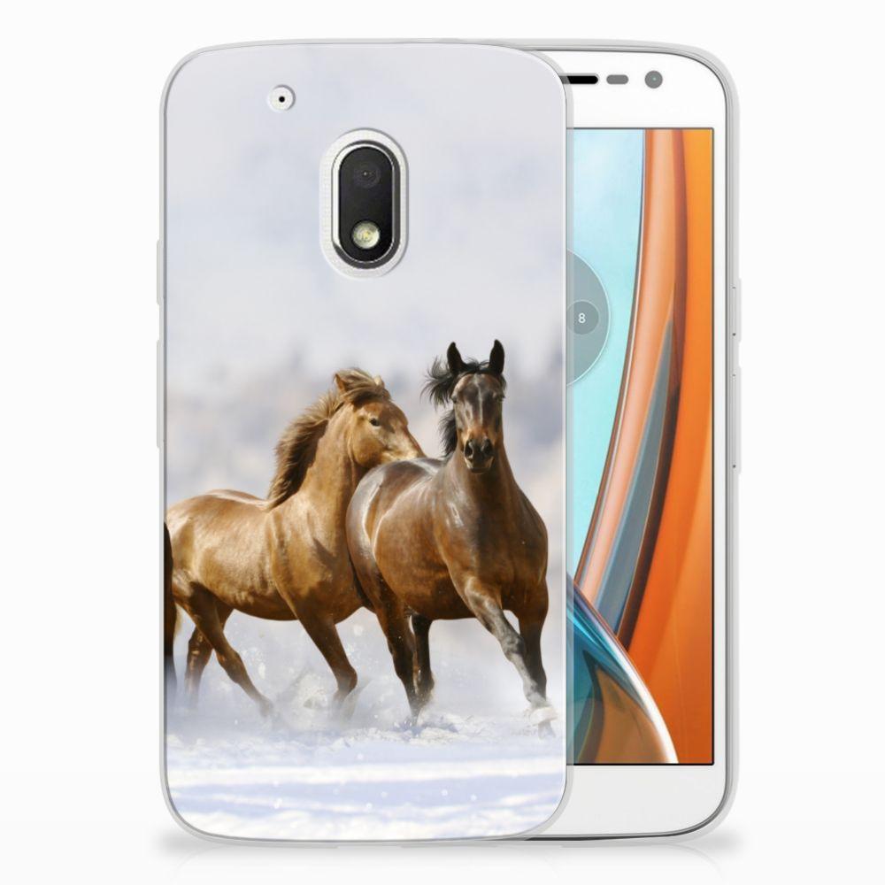 Motorola Moto G4 Play Uniek TPU Hoesje Paarden
