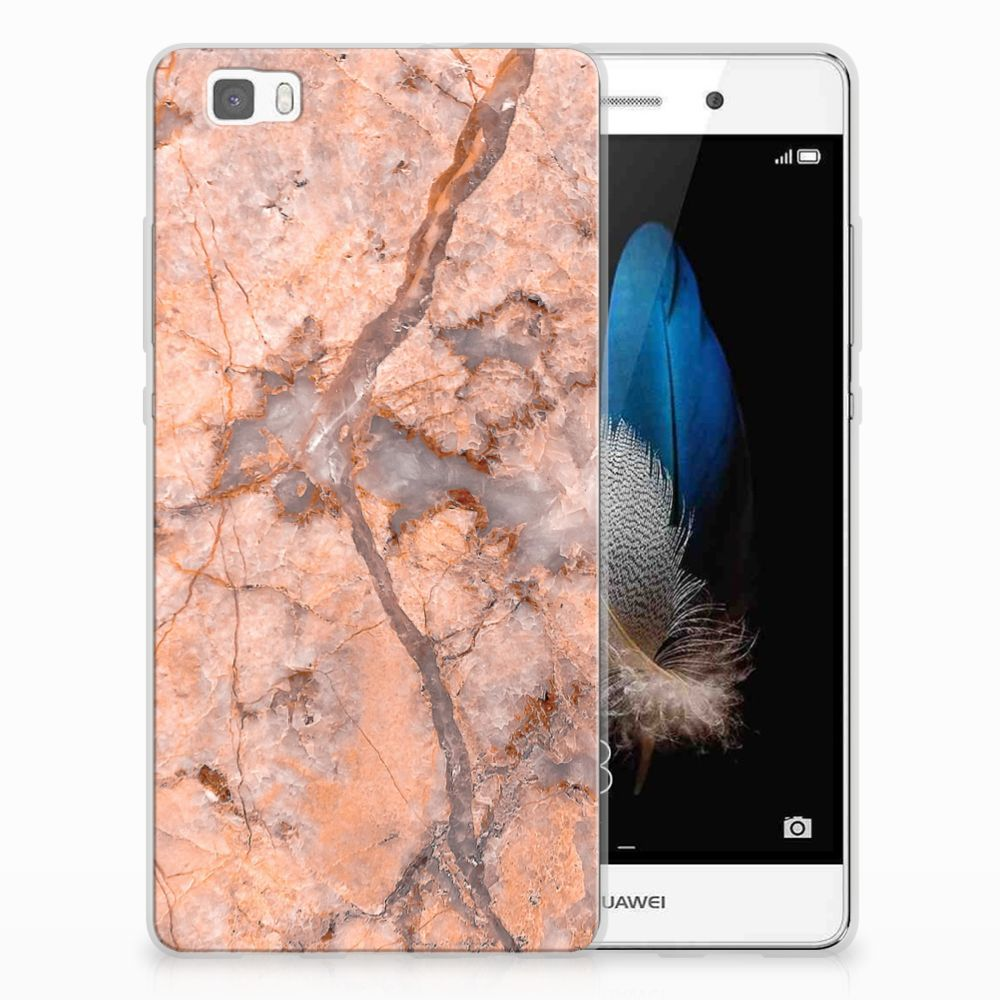 Huawei Ascend P8 Lite TPU Siliconen Hoesje Marmer Oranje