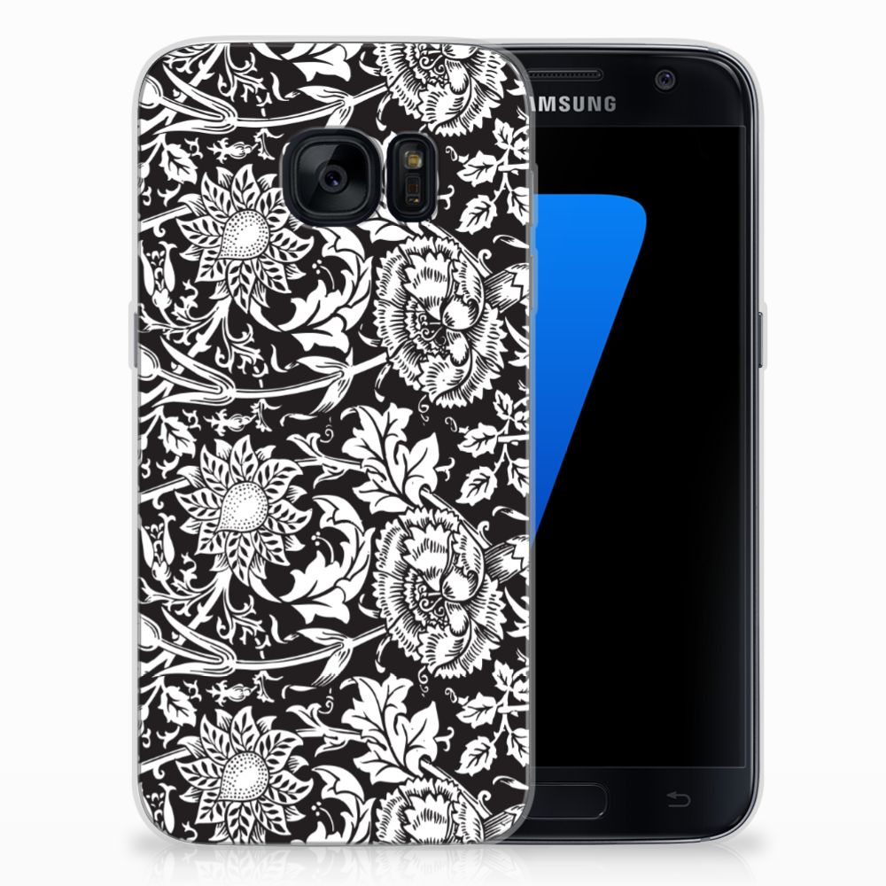 Samsung Galaxy S7 TPU Case Black Flowers