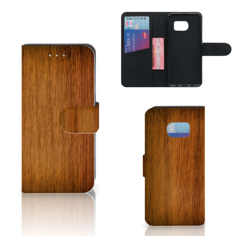 Samsung Galaxy S6 Edge Book Style Case Donker Hout
