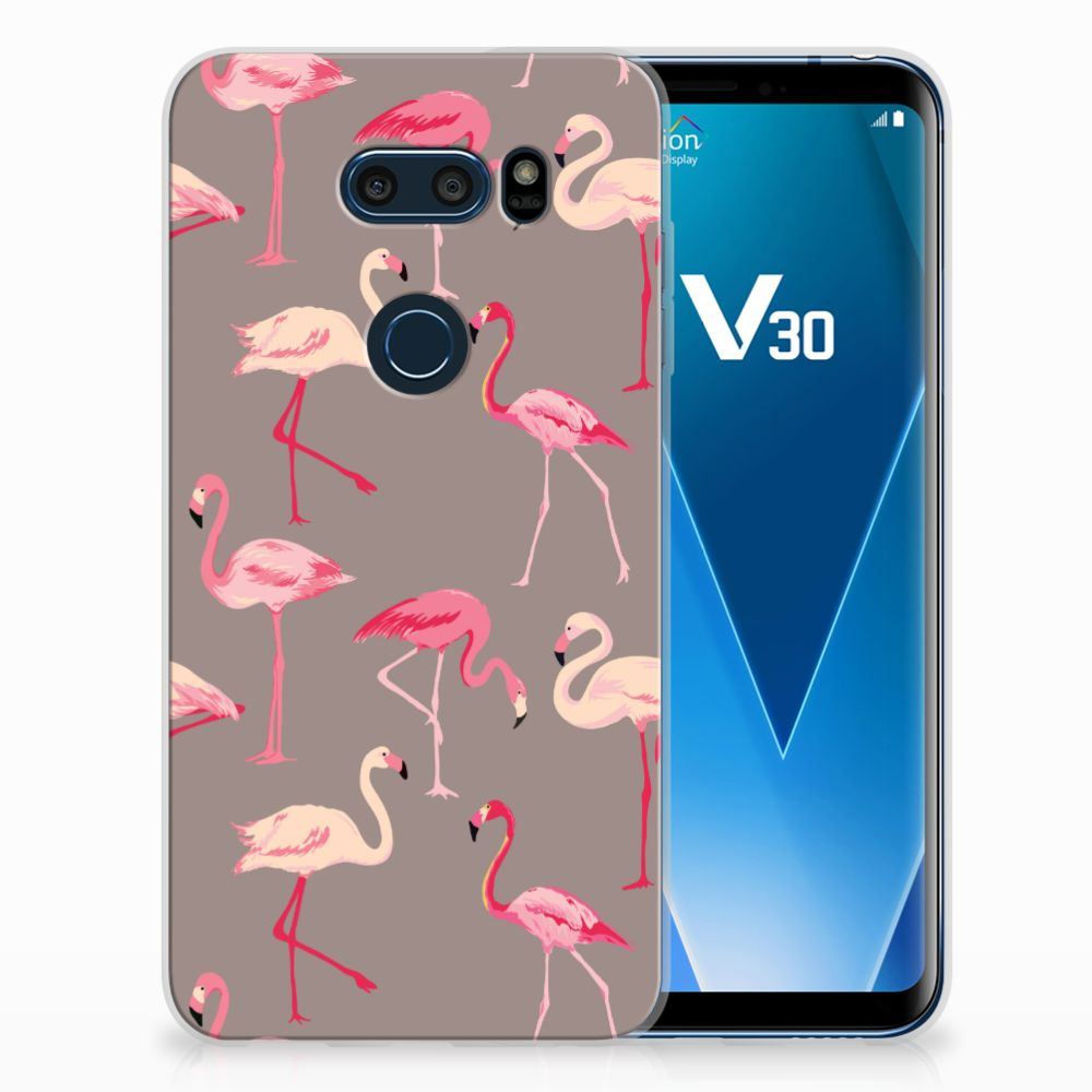LG V30 Uniek TPU Hoesje Flamingo