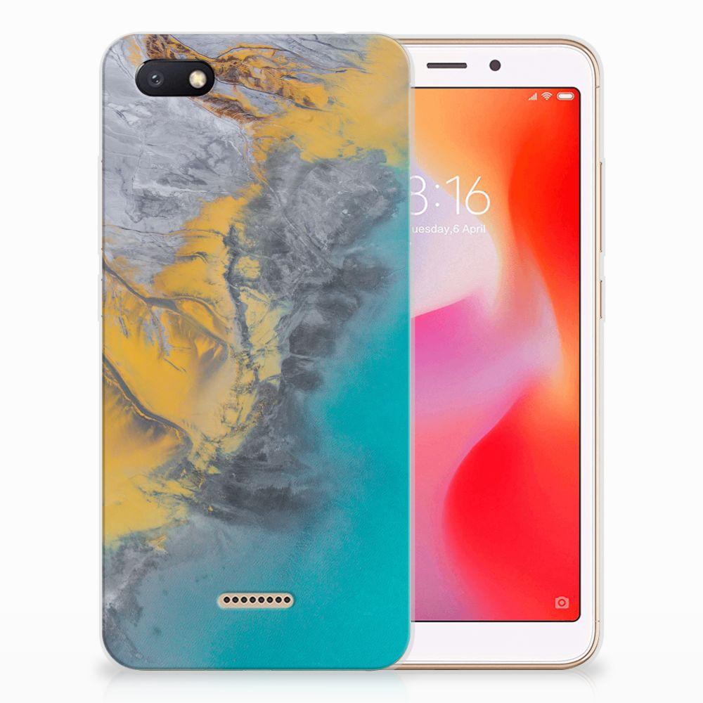 Xiaomi Redmi 6A TPU Siliconen Hoesje Marble Blue Gold