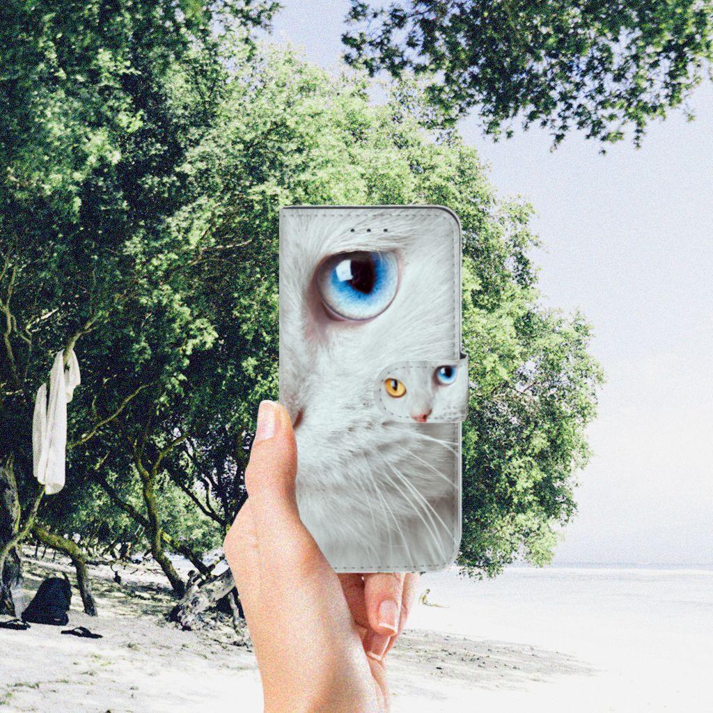 Samsung Galaxy S7 Edge Telefoonhoesje met Pasjes Witte Kat