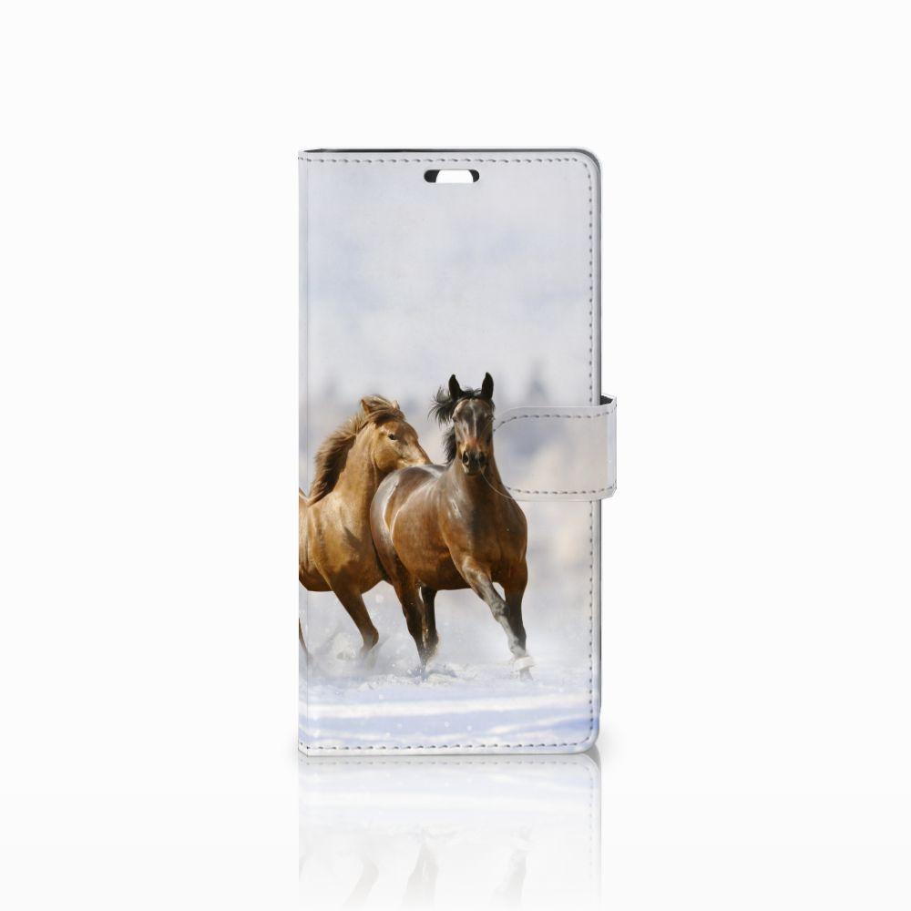 Sony Xperia C5 Ultra Uniek Boekhoesje Paarden
