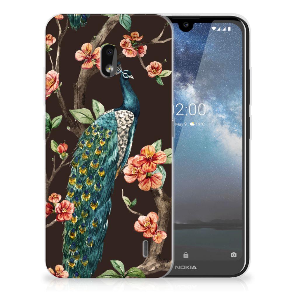 Nokia 2.2 TPU Hoesje Pauw met Bloemen