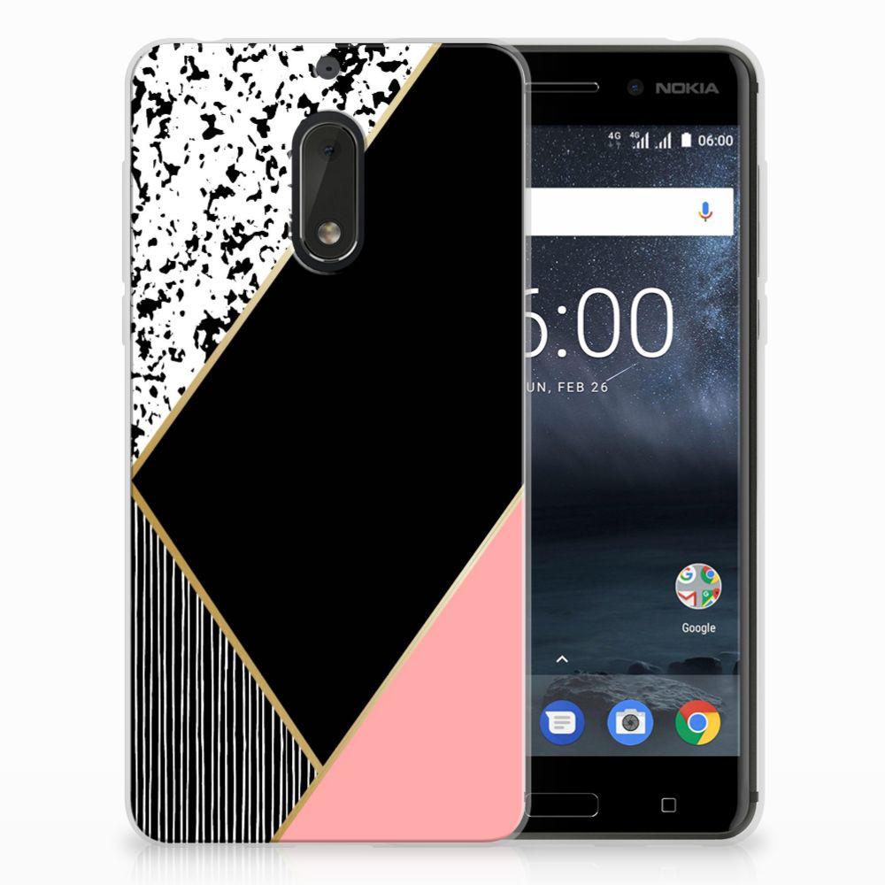 Nokia 6 Uniek Design TPU Hoesje Black Pink Shapes