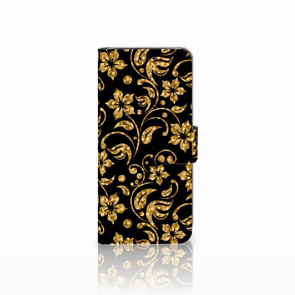 Samsung Galaxy A6 2018 Boekhoesje Design Gouden Bloemen
