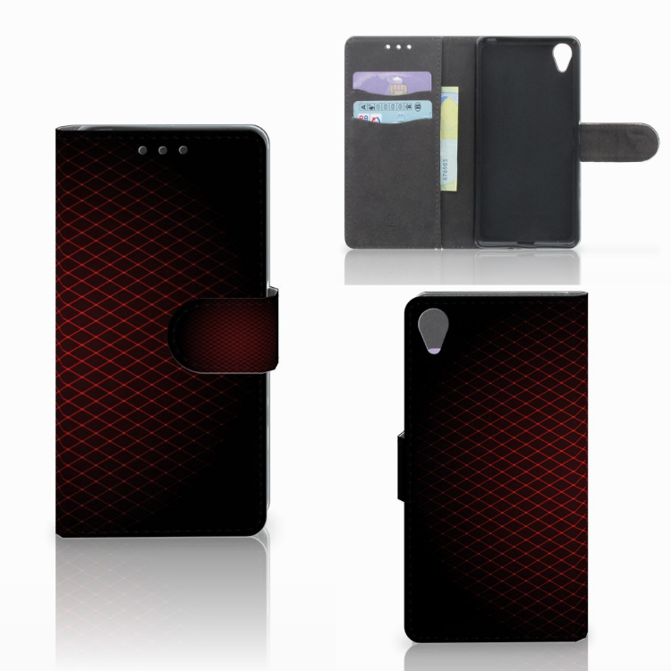 Sony Xperia X Telefoon Hoesje Geruit Rood