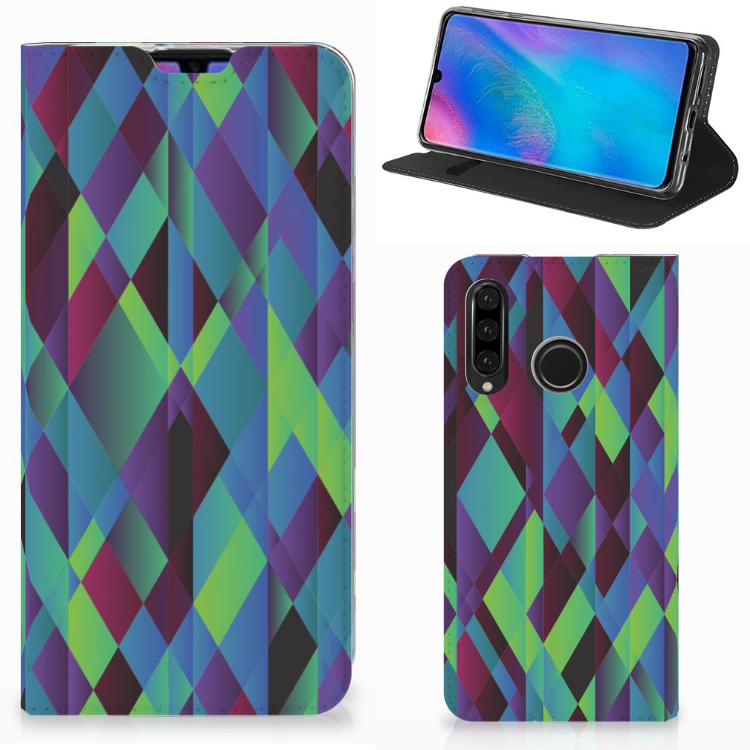 Huawei P30 Lite Stand Case Abstract Green Blue