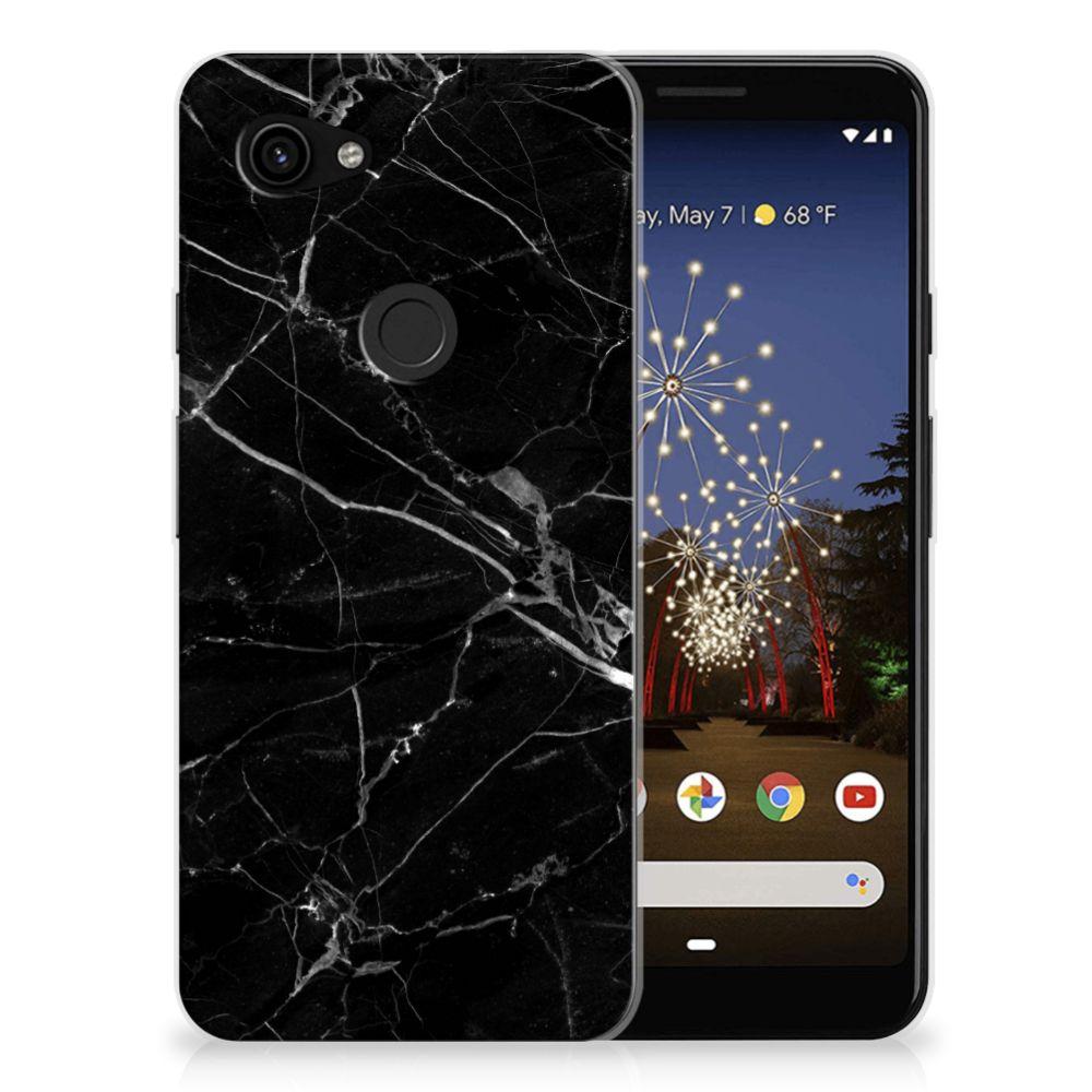 Google Pixel 3A TPU Siliconen Hoesje Marmer Zwart