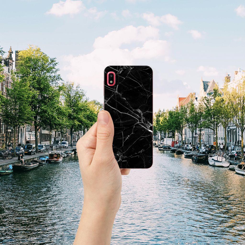 Samsung Galaxy A10 TPU Siliconen Hoesje Marmer Zwart - Origineel Cadeau Vader