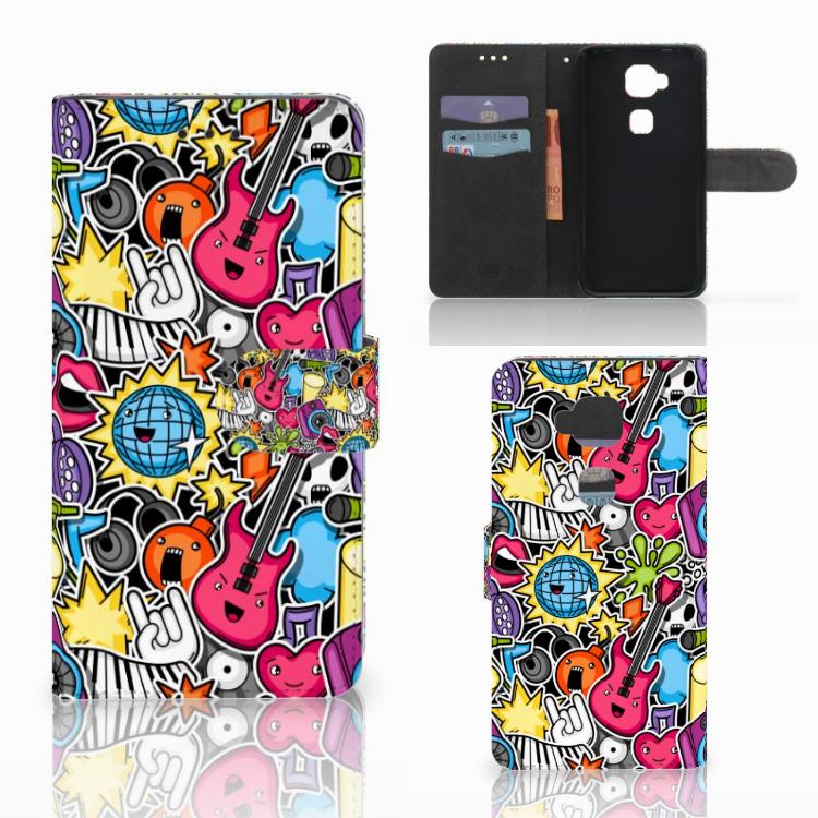 Huawei G8 Wallet Case met Pasjes Punk Rock