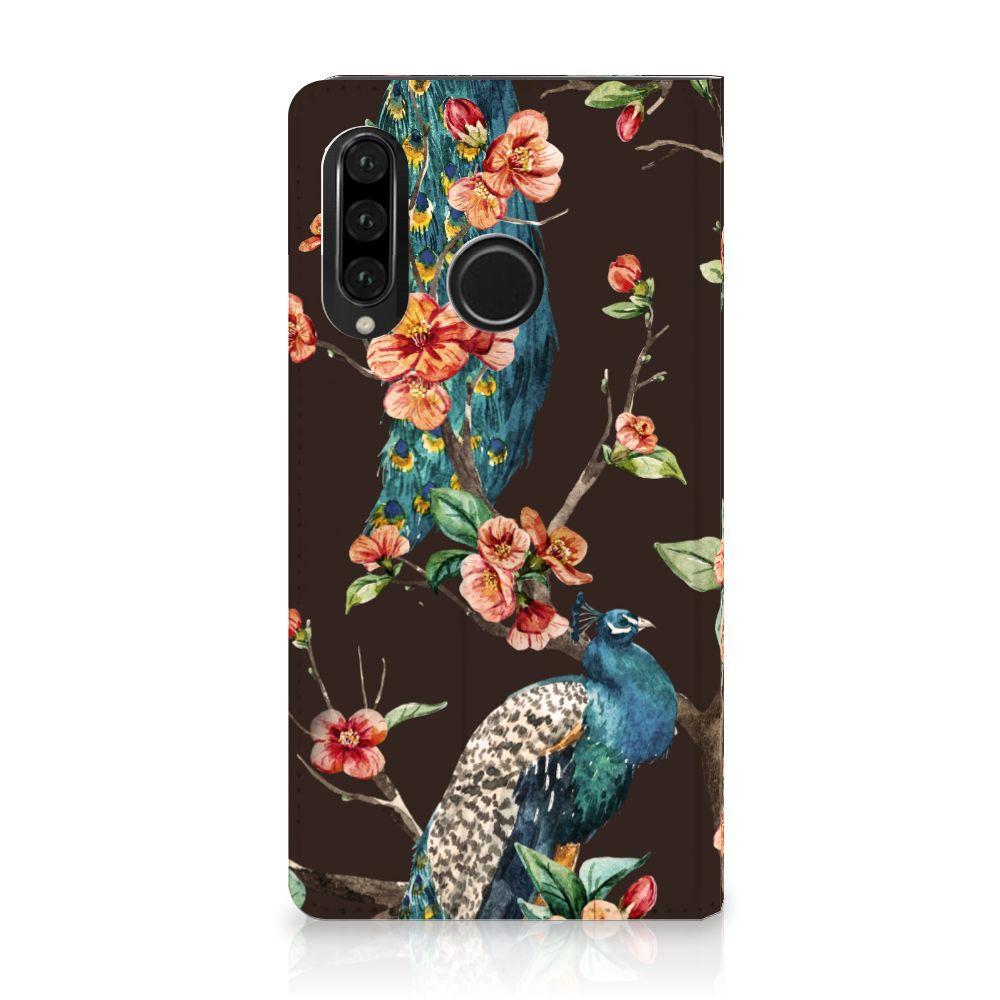 Huawei P30 Lite Standcase Hoesje Design Pauw met Bloemen