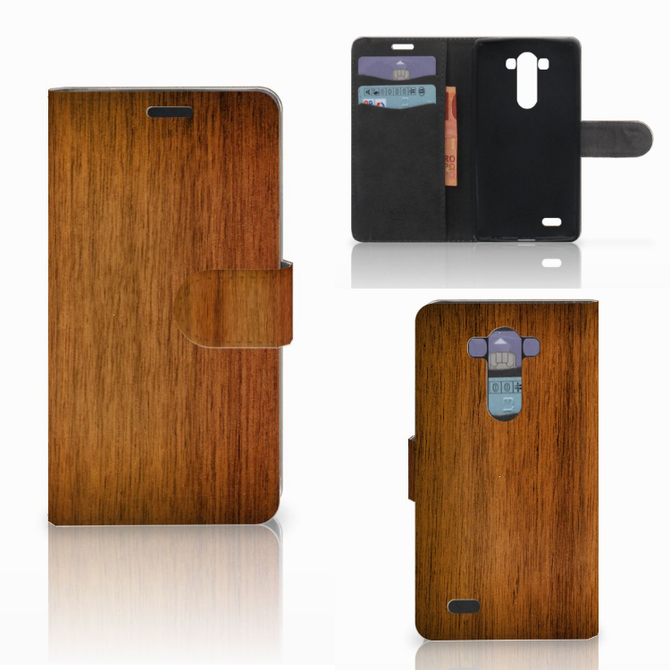 LG G3 Book Style Case Donker Hout