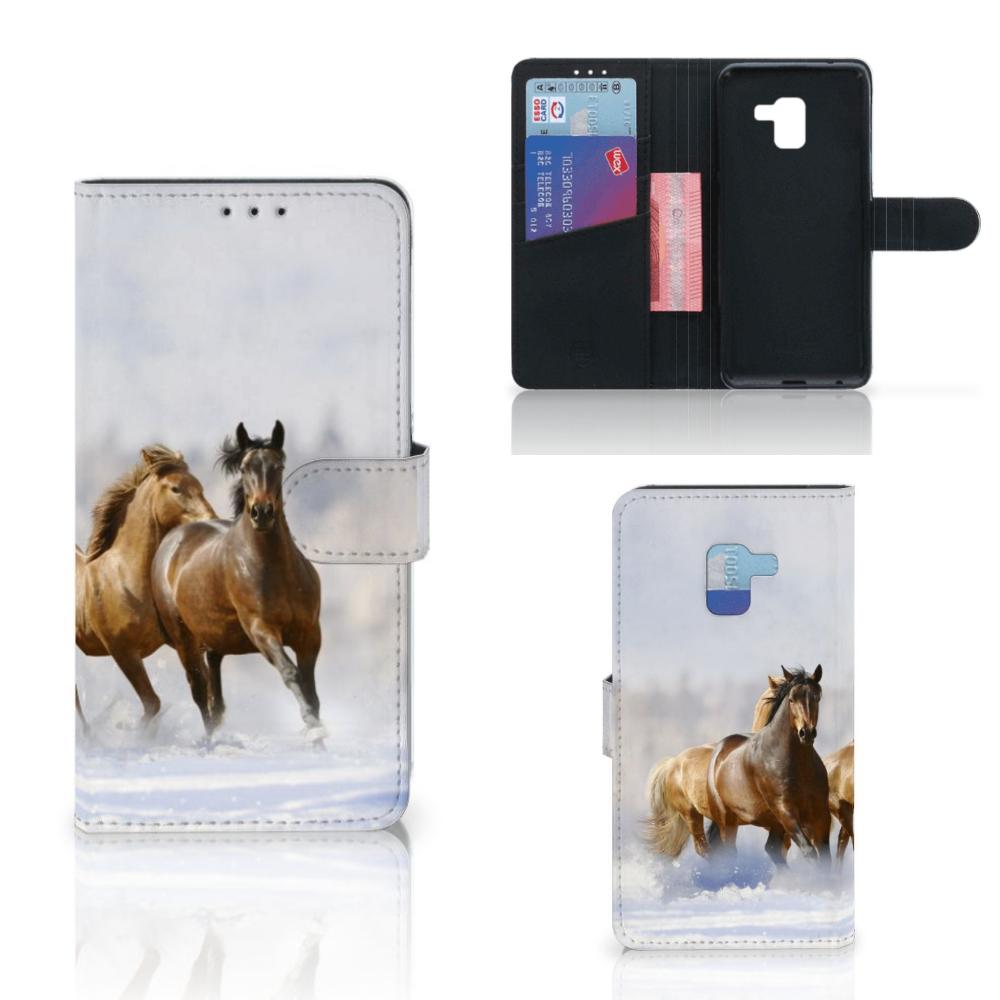 Samsung Galaxy A8 Plus (2018) Telefoonhoesje met Pasjes Paarden