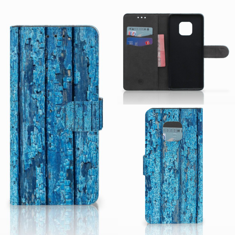 Huawei Mate 20 Pro Book Style Case Wood Blue