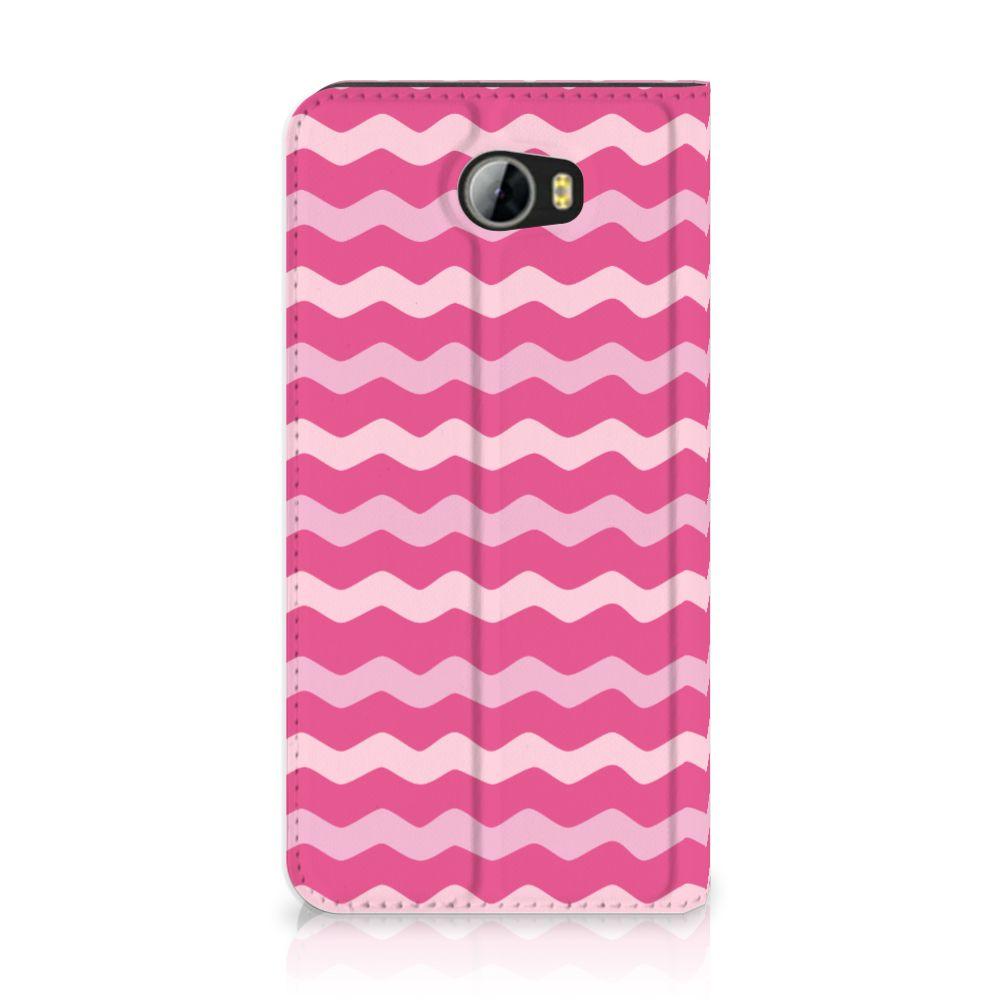 Huawei Y5 2 | Y6 Compact Uniek Standcase Hoesje Waves Pink