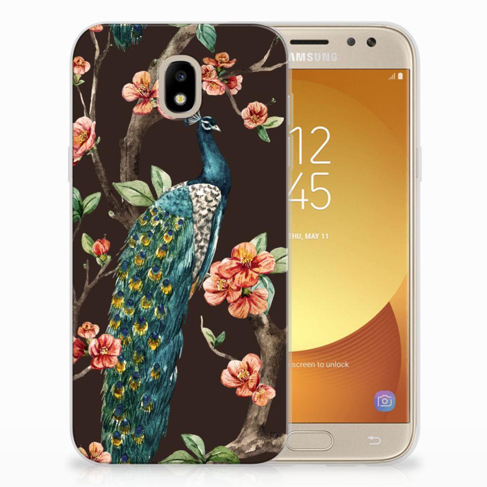 Samsung Galaxy J5 2017 TPU Hoesje Pauw met Bloemen
