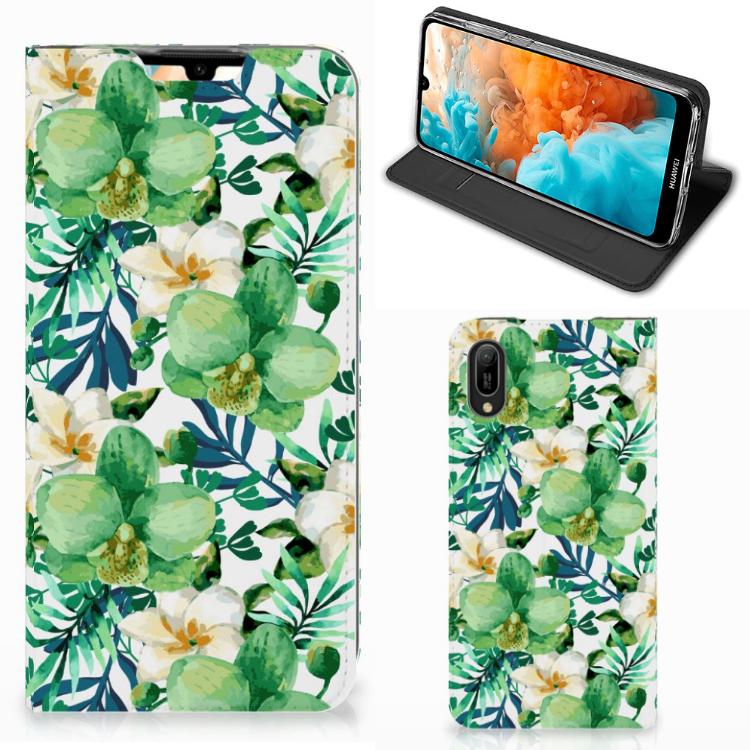 Huawei Y6 2019 Smart Cover Orchidee Groen