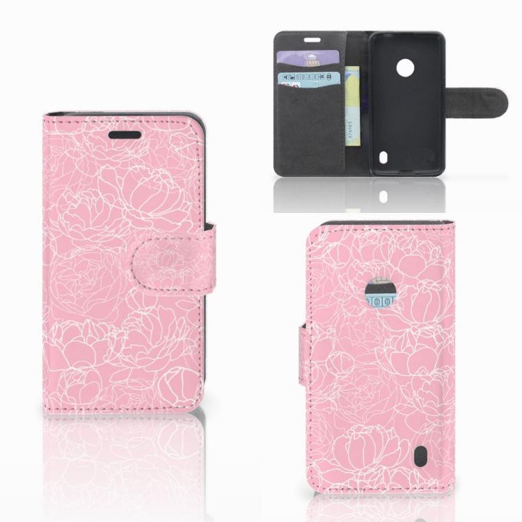 Nokia Lumia 520 Wallet Case White Flowers