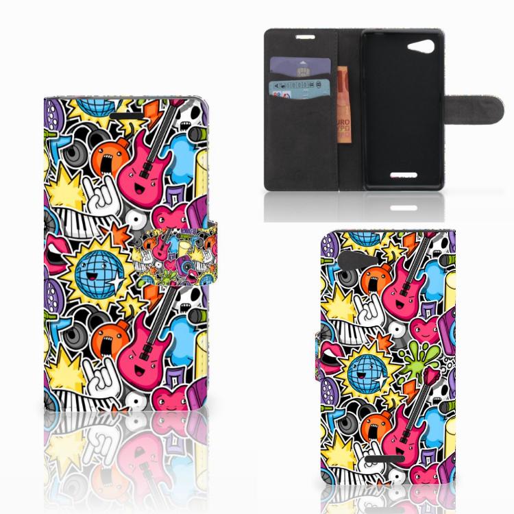 Sony Xperia E3 Wallet Case met Pasjes Punk Rock