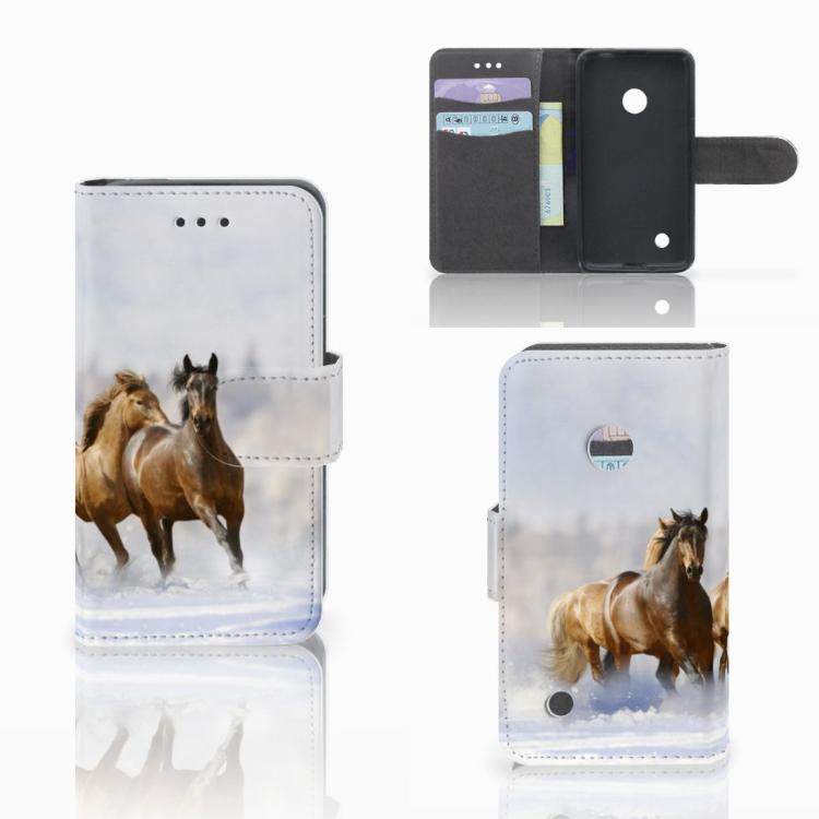 Nokia Lumia 530 Telefoonhoesje met Pasjes Paarden