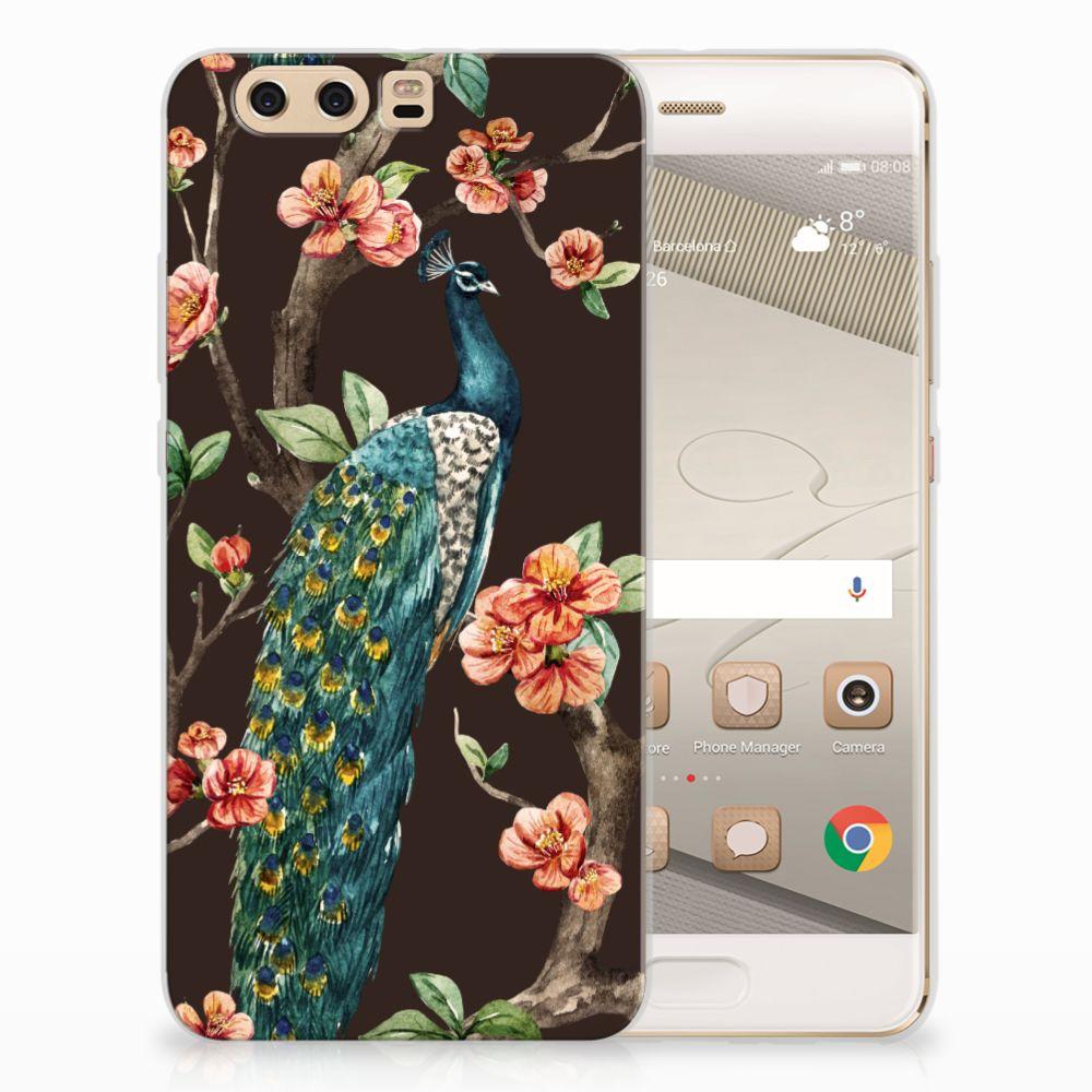 Huawei P10 Plus TPU Hoesje Design Pauw met Bloemen