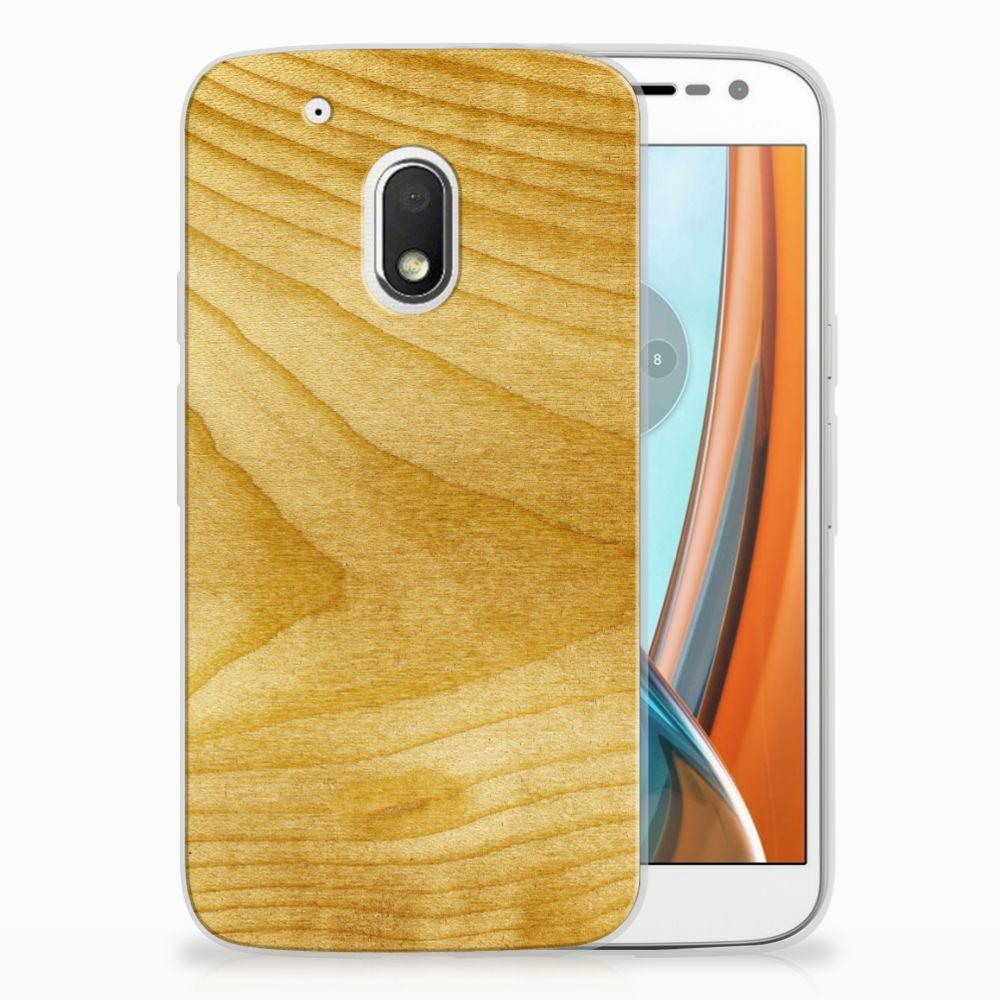 Motorola Moto G4 Play Uniek TPU Hoesje Licht Hout
