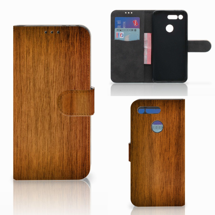 Honor View 20 Book Style Case Donker Hout