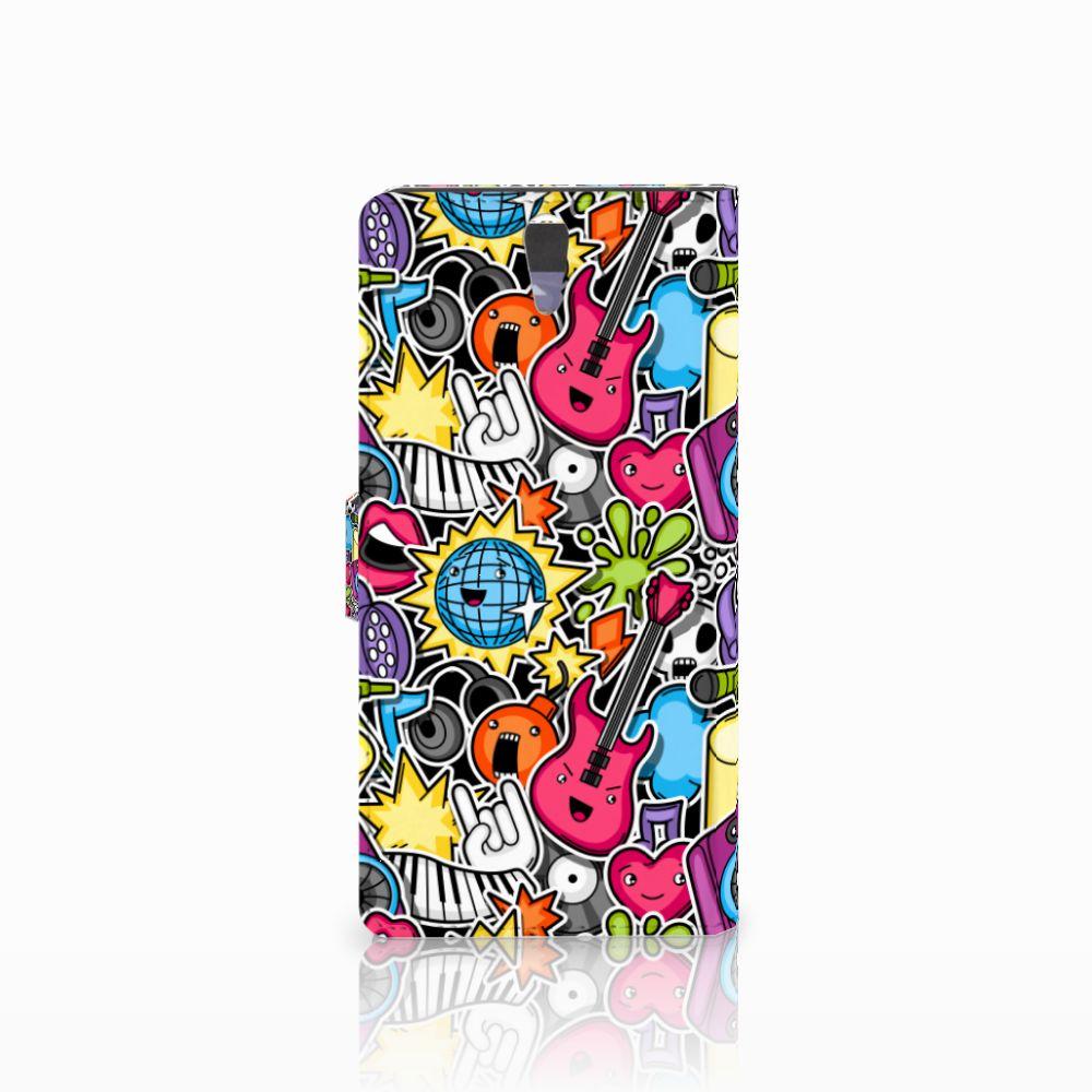 Sony Xperia C5 Ultra Wallet Case met Pasjes Punk Rock