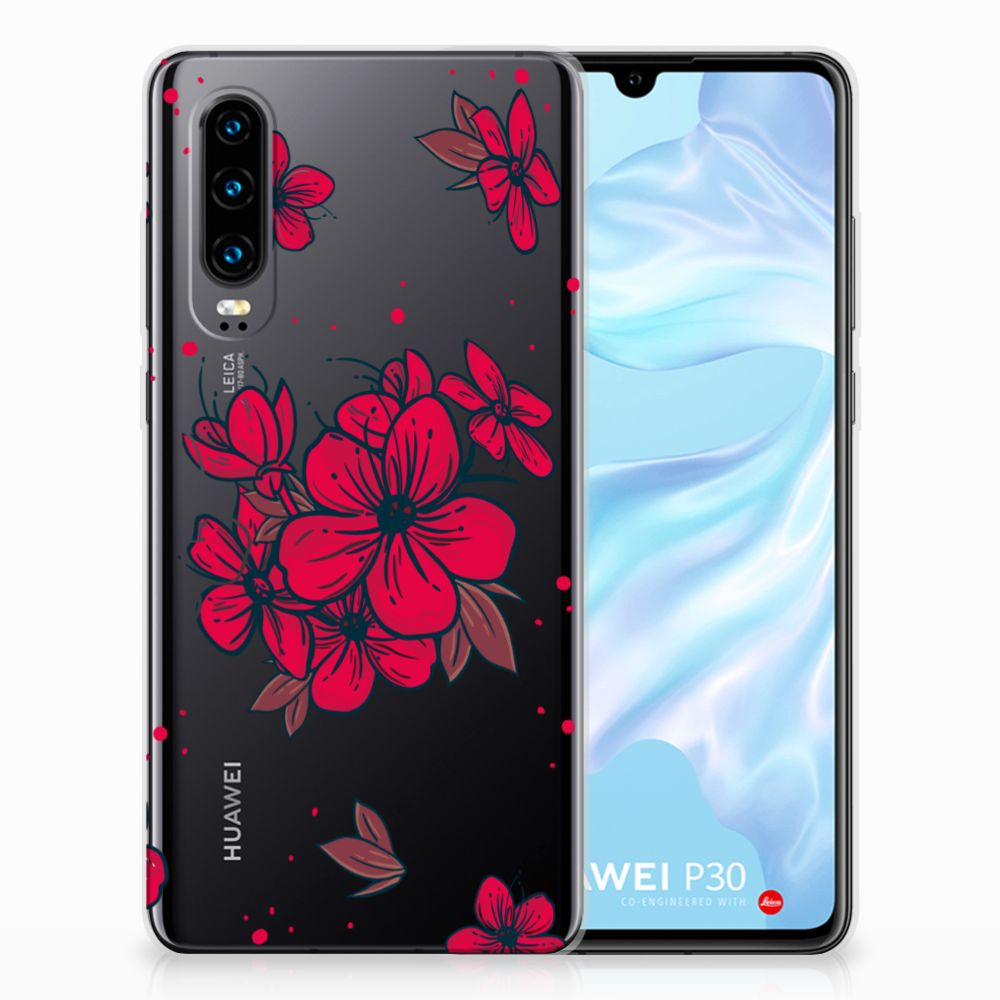 Huawei P30 TPU Hoesje Design Blossom Red