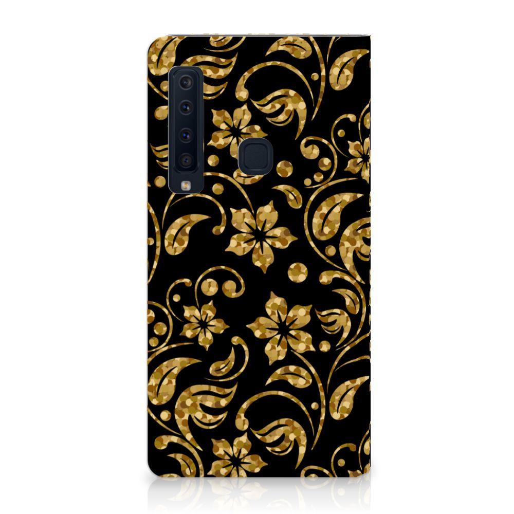 Samsung Galaxy A9 (2018) Standcase Hoesje Design Gouden Bloemen