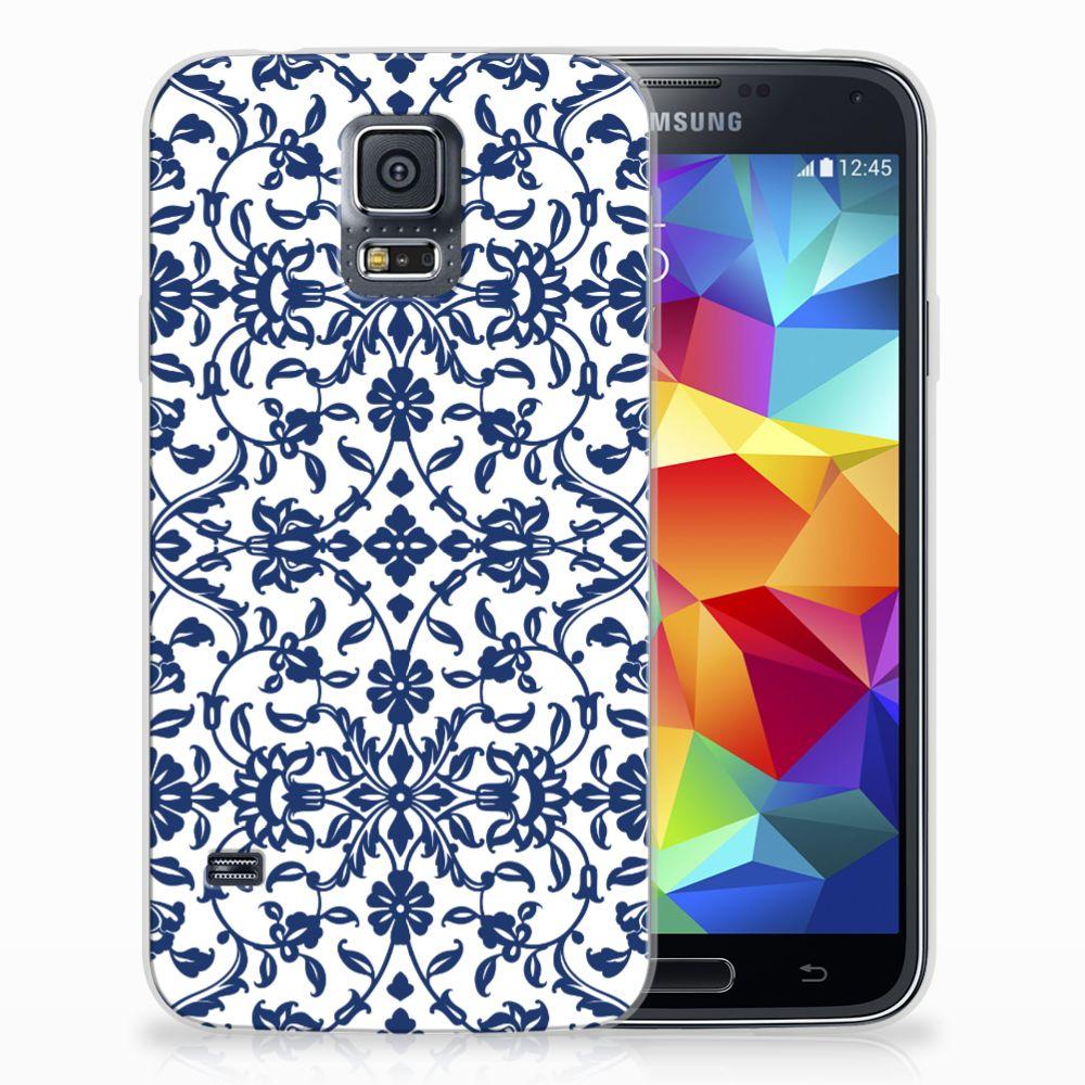 Samsung Galaxy S5 TPU Hoesje Flower Blue