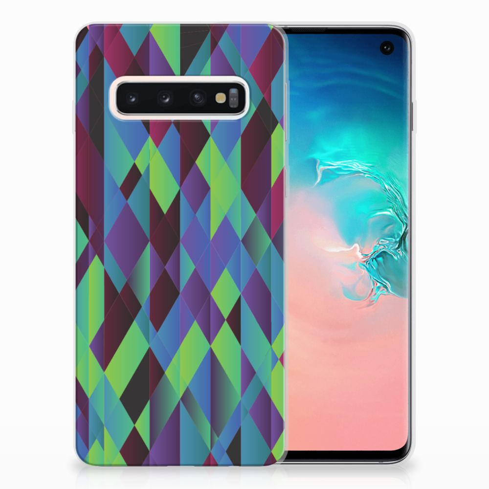 Samsung Galaxy S10 TPU Hoesje Abstract Green Blue