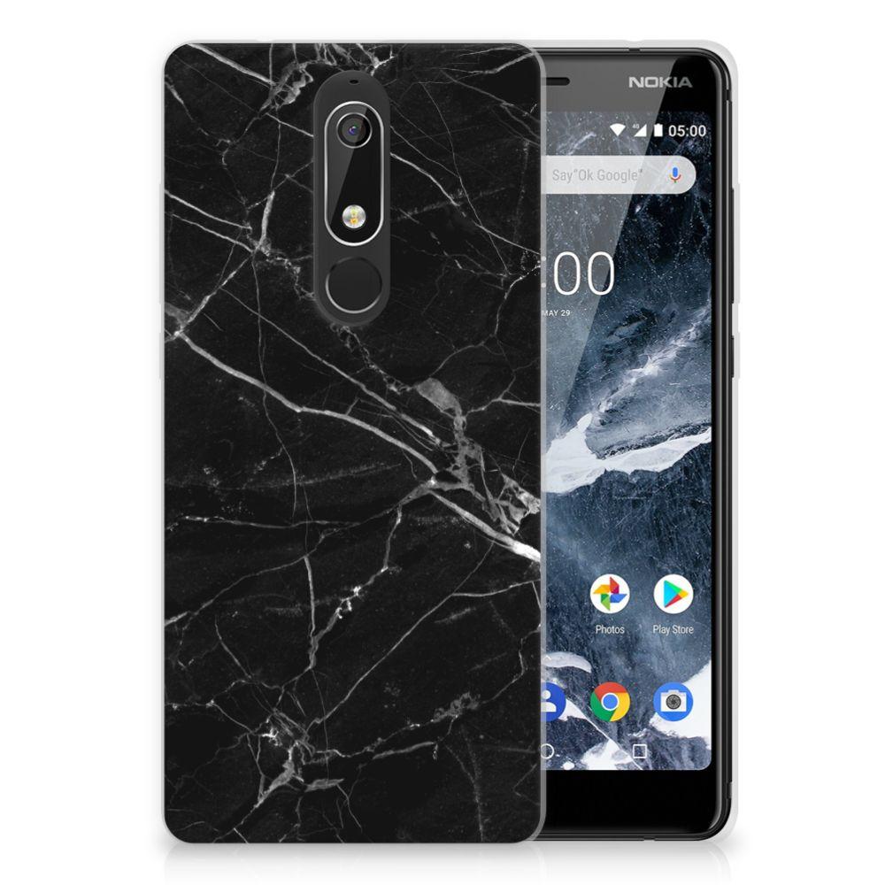 Nokia 5.1 (2018) Uniek TPU Hoesje Marmer Zwart