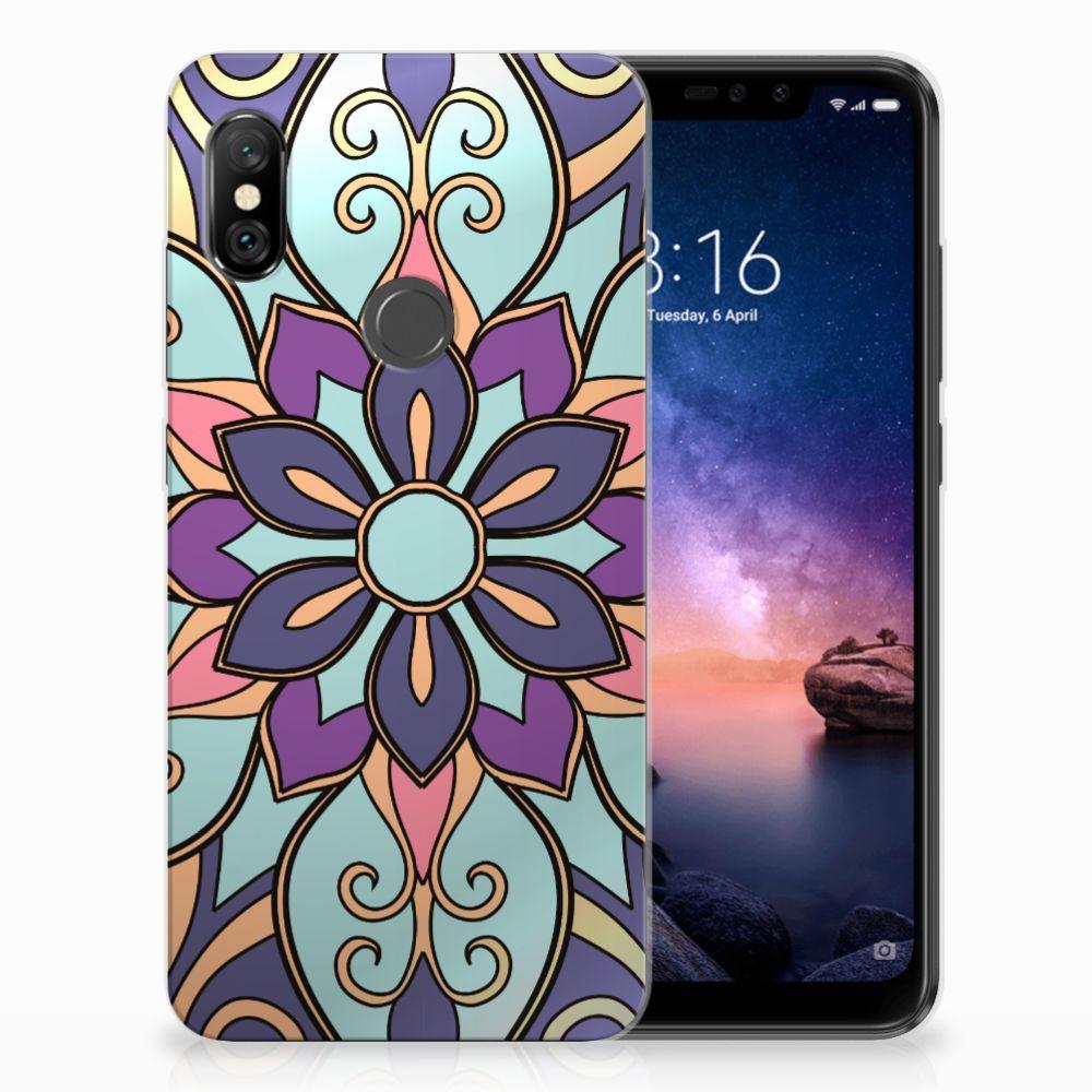 Xiaomi Redmi Note 6 Pro TPU Hoesje Design Purple Flower