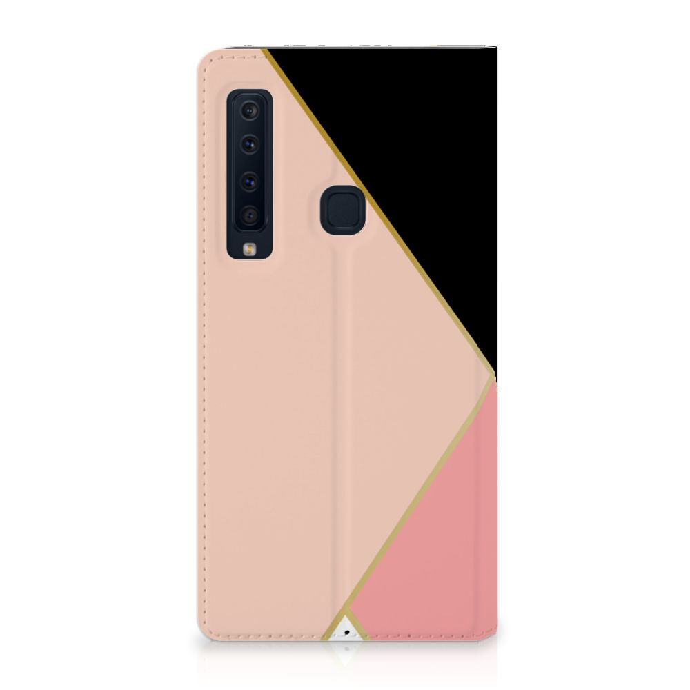 Samsung Galaxy A9 (2018) Standcase Hoesje Black Pink Shapes