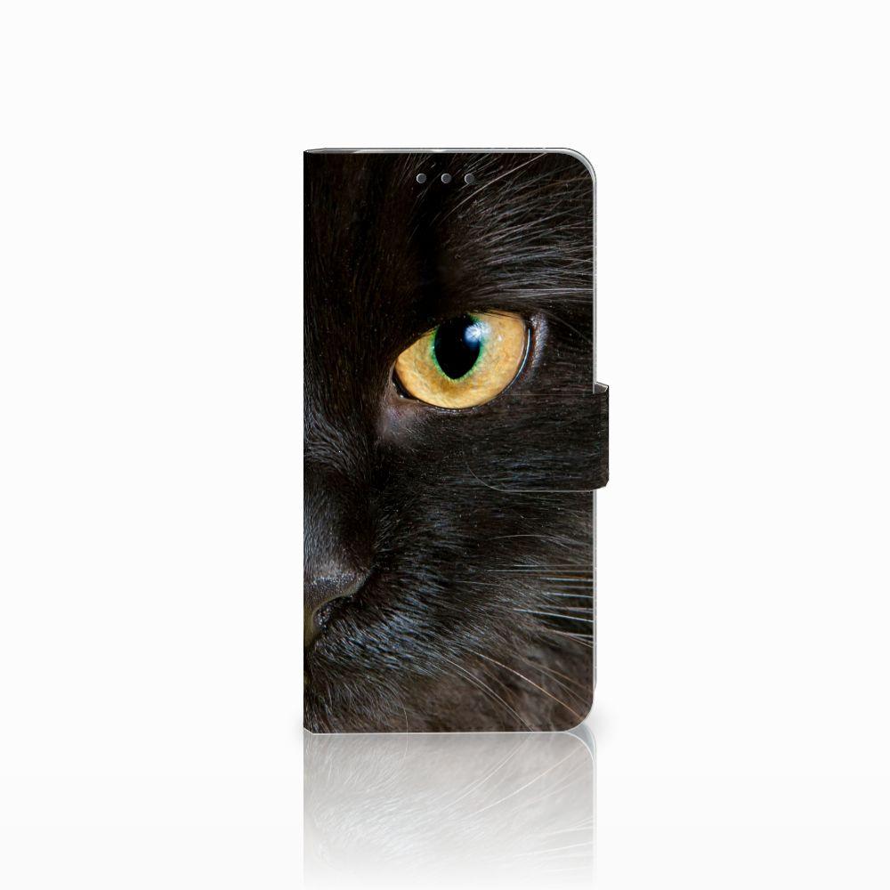 HTC U11 Plus Telefoonhoesje met Pasjes Zwarte Kat