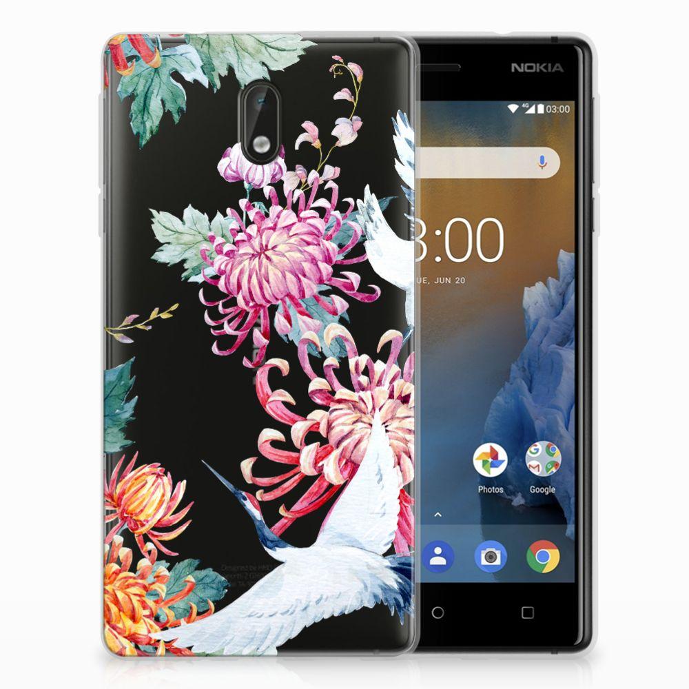 Nokia 3 Uniek TPU Hoesje Bird Flowers