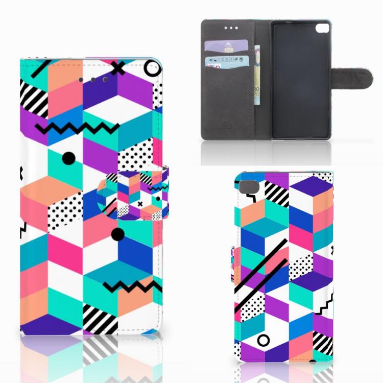 Huawei P8 Bookcase Blokken Kleurrijk