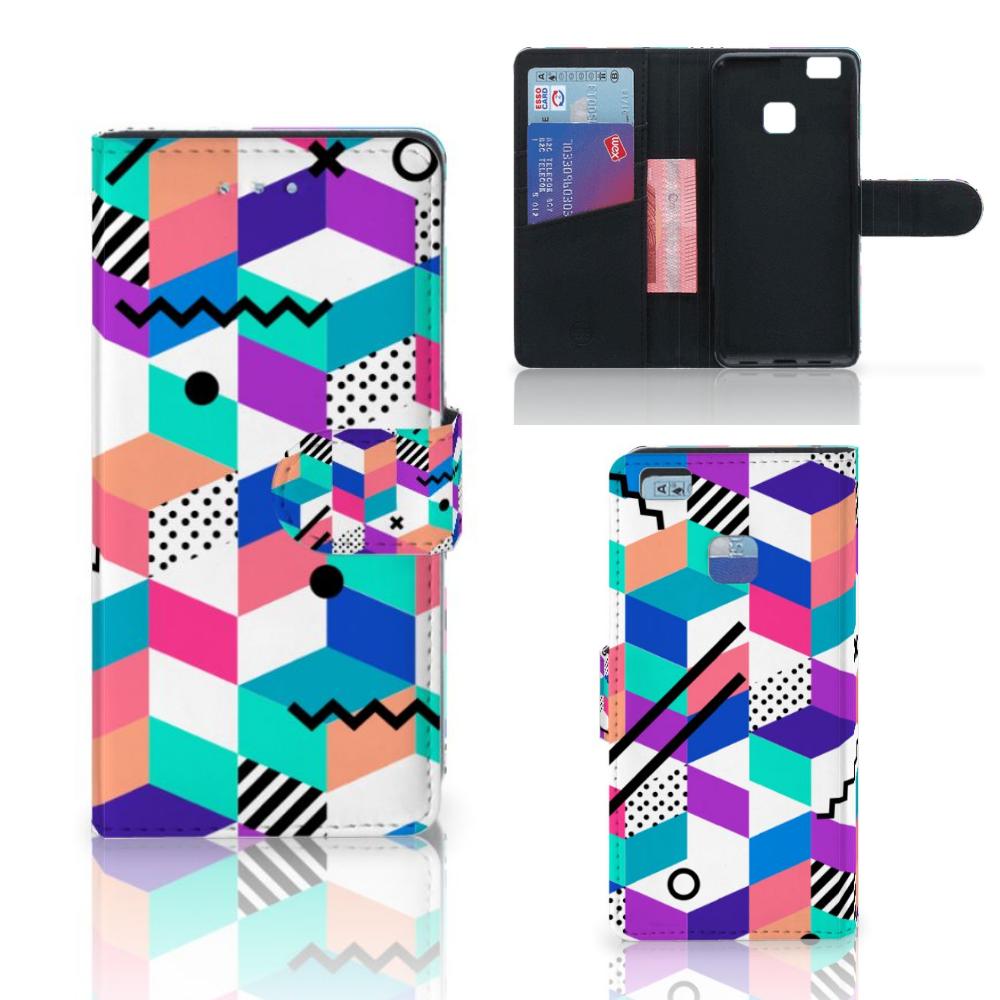 Huawei P9 Lite Bookcase Blokken Kleurrijk