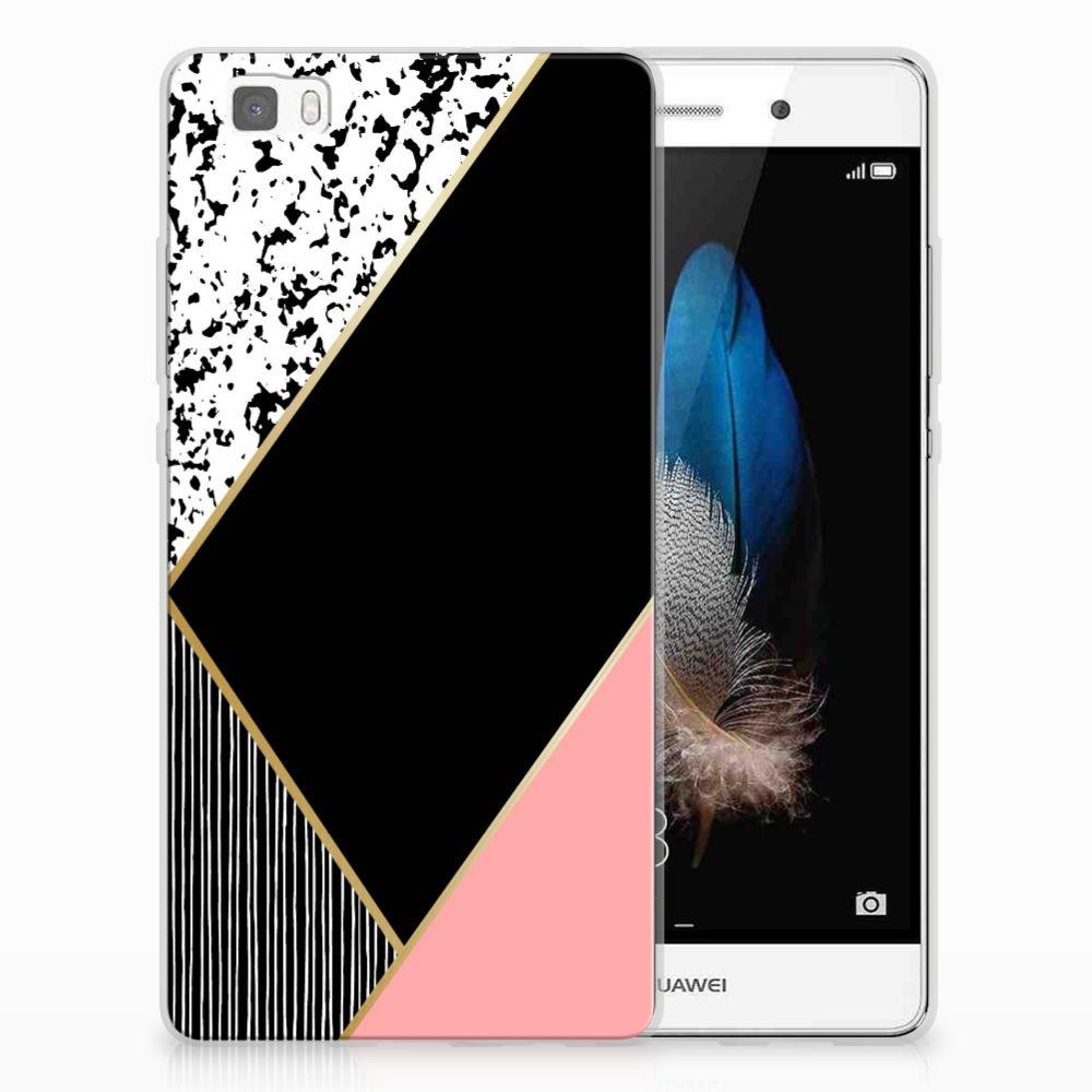 Huawei Ascend P8 Lite TPU Hoesje Zwart Roze Vormen
