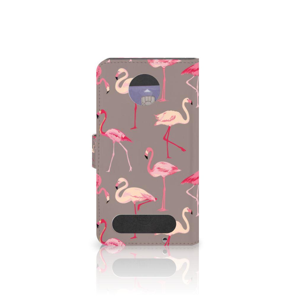 Motorola Moto Z2 Force Telefoonhoesje met Pasjes Flamingo